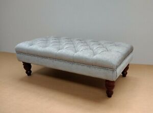 Details About Deep Buttoned Chesterfield Footstool Nirvana Silver Grey Coffee Table