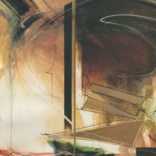 "SWIRLS BURGUNDY MOVEMENT CANVAS 46W/""x35H/"" COSMIC GREEN by DANIEL KIME"