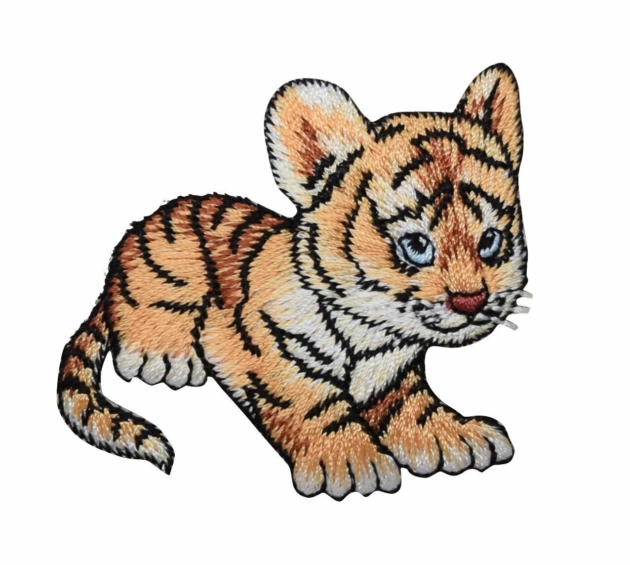 Embroidered Iron On Applique Patch Tiger Wild Animal Zoo Animal