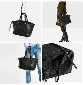Image Is Loading Zara Black Soft City Bag Ref 8430 104