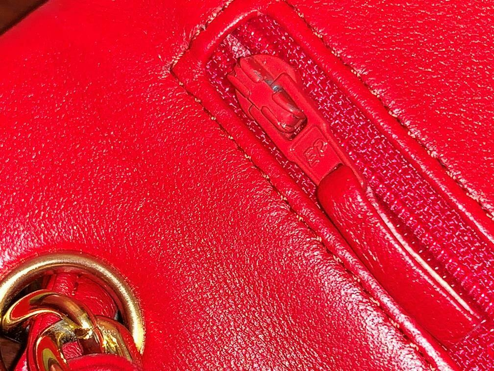 Authentic Chanel Classic Jumbo Red Lambskin Doubl… - image 8