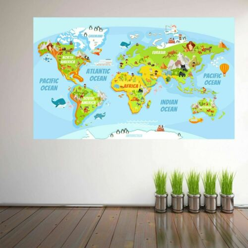 Animals World Map Wall Art Stickers Mural Decal Kids Bedroom School Nursery ES3