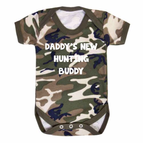 Daddy/'s Hunting Buddy Camo Baby Vest  Babygrow Hunting Army Camouflage