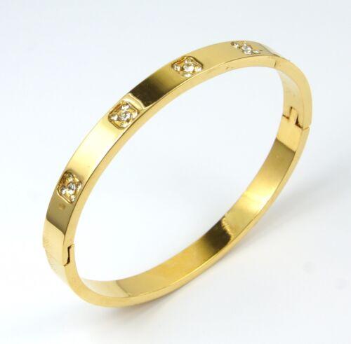 Para mujeres oro acero inoxidable pulsera brazalete de cristal de apertura