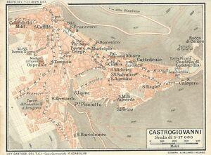 Cartina Sicilia Antica.Carta Geografica Antica Castrogiovanni Enna Sicilia Tci 1919 Old Antique Map Ebay
