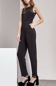 big discount of 2019 select for official enjoy cheap price Details about BNWT STRADIVARIUS BLACK JUMPSUIT WITH LACE PANEL SIZE UK  small 8/10