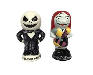 Nightmare Before Christmas Jack /& Sally Heads Ceramic Salt /& Pepper Shakers Set