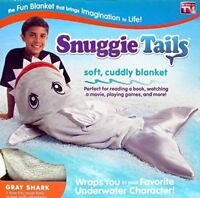 Snuggie Tails Kids Grey Shark Tail Soft Fuzzy Blanket Sleeping Bag Mermaid