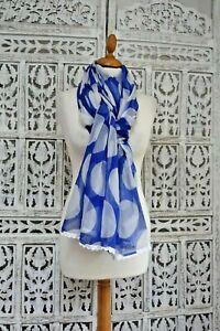Bleu & Blanc En Mousseline De Soie Dotty Spot Châle Sarong Dupatta Sku15353-afficher Le Titre D'origine Ventes Pas ChèRes 50%