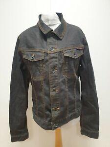 S464 Herren-gewaschen Schwarz Knopfleiste Kragen Denim Jacke UK L EU 52