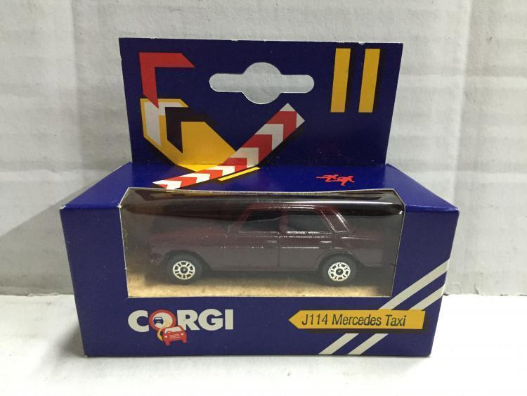 Corgi Junior J114 MERCEDES TAXI Magenta MIB, 1984 Made in Great Britain