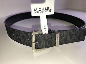 5386b307f9e29 NEW! Michael Kors Men s Belt Size 29-30 Black Monogrammed Silvertone ...