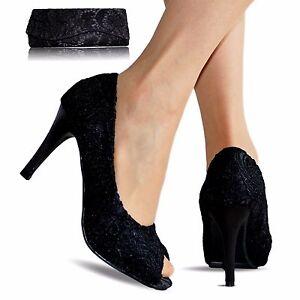 Encaje Flores De Tacón Detalles Toe Satén Negro Fiesta Dama Peep Zapatos Para Salón Alto UzqMVpGS
