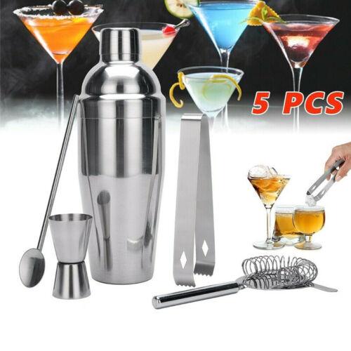 5PCS Cocktail Shaker Mixer Drink Bartender Martini Tools Bar Set Stainless Steel