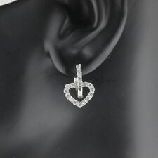 Womens 925 Sterling Silver CZ Micro Pave Heart Hoop Earrings