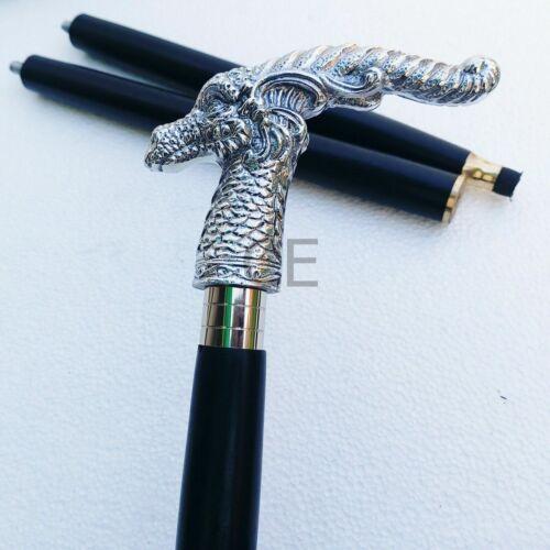 Aluminium Chrome Dragon Head Handle Victorian Style Wooden Walking Stick Cane