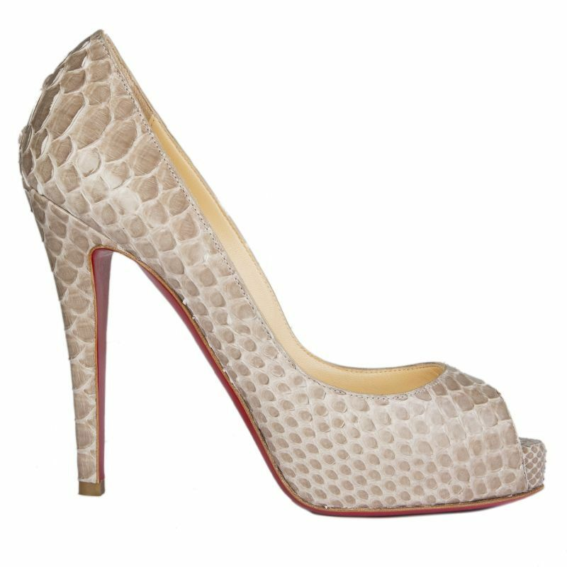 54747 auth CHRISTIAN LOUBOUTIN taupe PYTHON VERY PRIVE Pumps shoes 36.5