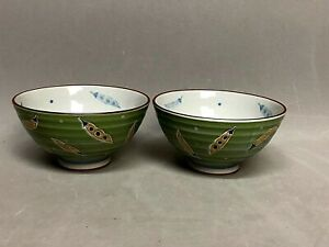 Set 2 SAIKAI Rice Soup BOWLS Green Ceramic Snow Peas Ribbed Made in Japan