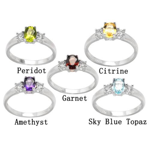 De Buman Genuine Gemstone and White Topaz 925 Silver Ring