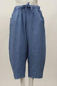corte in Pantalone estate a Aqua maniche lino Blu Nuovo primavera Italy In 1 Made Taglia Uqq4Fx