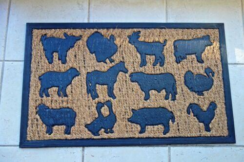 Retro Fußboden Matte Bauernhof Tiere Paradies Gummi-Kokosfaser 45x75c Shabby NEU