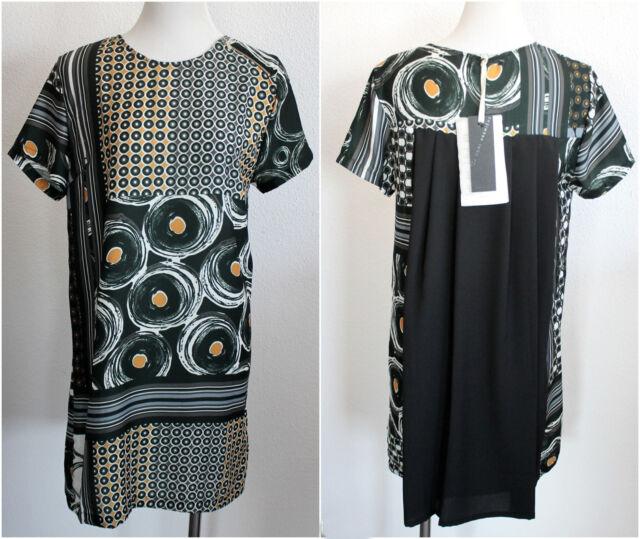 Dori Premiere Italy Kleid Gr. S 36 A-Linie schwarz Muster grafisch edel I87 Neu