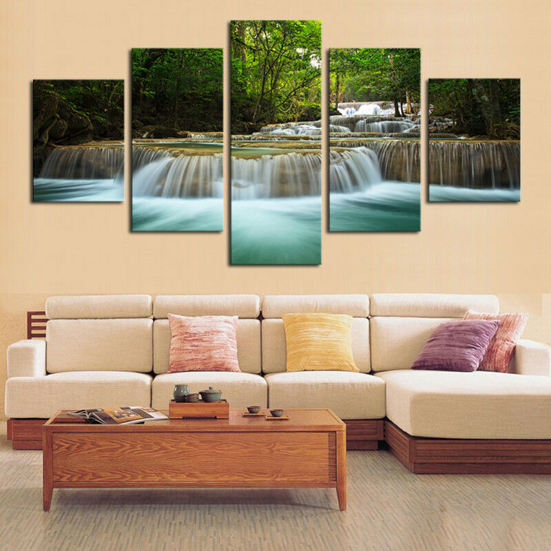 Waterfall Nature Painting 5 Panel Canvas Print Wall Art Poster Home Decor