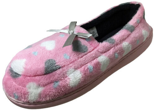 Ladies Soft Velour PINK GREY LOVE HEART Mocassin Slippers Women with good soles