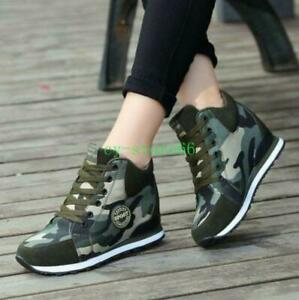 Womens-High-Top-Hidden-Wedge-Heel-Sneakers-Boots-Lace-Up-Camouflage-Casual-Shoes