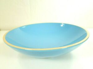 Val-Do-Sol-Pottery-Portugal-13-75-034-SERVING-BOWL-Blue-with-Beige-White-Trim-Rare