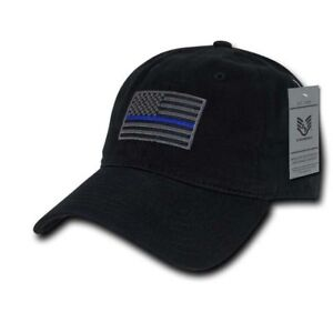 Details about Thin Blue Line Black Ball Cap w American Flag Patch Police  Tactical Cap 482fce05dba