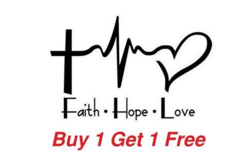 ~*~ 2 FAITH HOPE LOVE Heartbeat Cross Church Vinyl Decal Sticker
