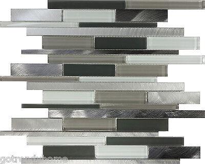 SAMPLE- Gray Glass Stainless Steel Mosaic Tile Wall Sink Kitchen Backsplash Pool