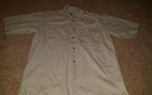 Red-Head-Short-Sleeve-Cotton-Beige-Hunting-Fishing-Outdoor-Shirt-Men-039-s-Medium