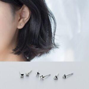 3-Paar-Mini-Ohrstecker-Stern-Pyramid-echt-Sterling-Silber-925-Damen-Ohrringe