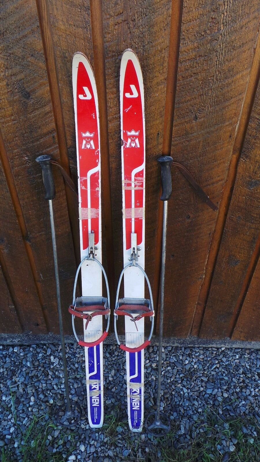 Vintage Wooden Skis 45  Long with RED WHITE blueE Finish + Bamboo Poles