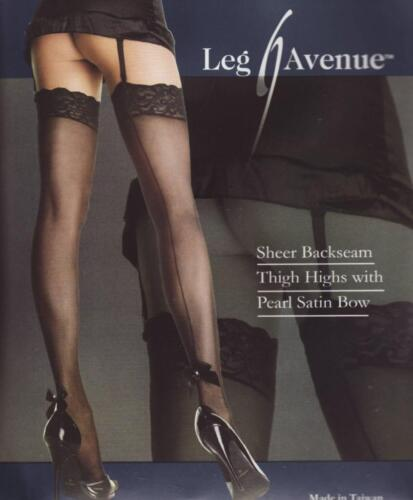 VARIOUS COLOURS Ultra Sheer Lace Top Stockings with Pearl Applique /& Satin Bows