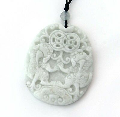 White Jade Lucky Double Pixiu Pi Xiu Coins Money Amulet Pendant Talisman