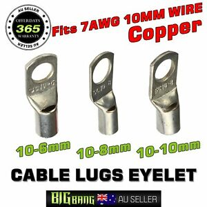 5 X CABLE METAL CRIMP TERMINAL RING LUG 35MM C//W 6MM HOLE