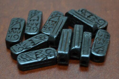 "12 PCS CARVED STYLE DARK BROWN BONE BEADING BEADS 1 1//8/"" #T-2747"