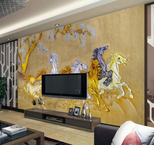 3D Weiß Gold Horses 8 Wall Paper Murals Wall Print Wall Wallpaper Mural AU Kyra