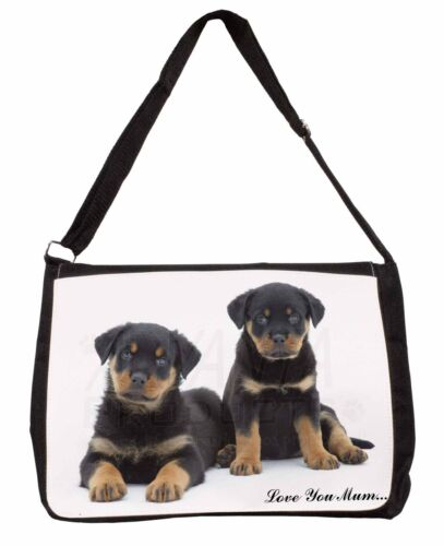 Rottweiler Puppies /'Love You Mum/' Large Black Laptop Shoulder Bag S AD-RW2lymSB