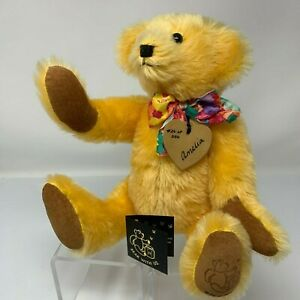 Teddy-Bear-With-Us-New-Zealand-Artist-Made-Amelia-26-250-12-034-Jointed-Orange-Tan