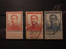 timbre BELGIQUE Albert 1er 1913 Yt 123 * Neuf + 123-125 Obliteres