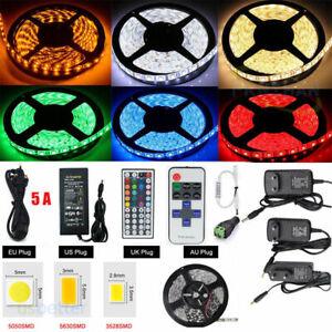 5M-300LED-SMD-3528-5050-5630-RGB-White-LED-Strip-Light-Remote-Power-Supply-12V