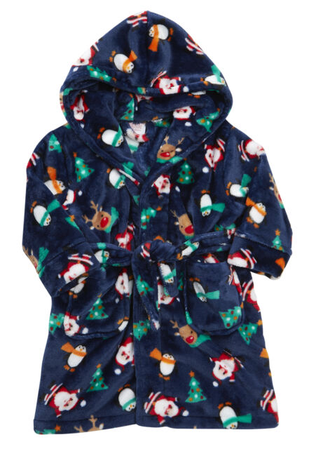 Festive Christmas Santa Childs Hooded Dressing Gown Robe Blue 11-12 ...