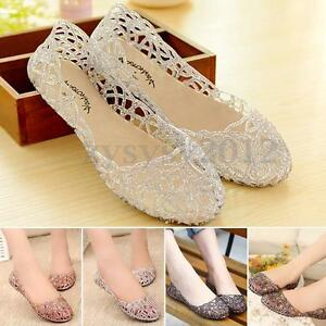 e33b54cbc2a613 UK Women Glitter Crystal Flat Sandals Plastic Jelly Hollowed Ballet ...