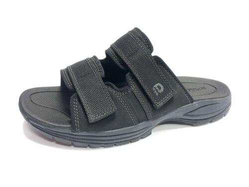 Dunham, Men's Newport Slide Sandals, Black Leather