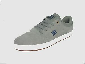 DC CRISIS LOW SUEDE SKATE SNEAKERS MEN SHOES GREY WHITE ADYS100029 ... ba0a0cdd64