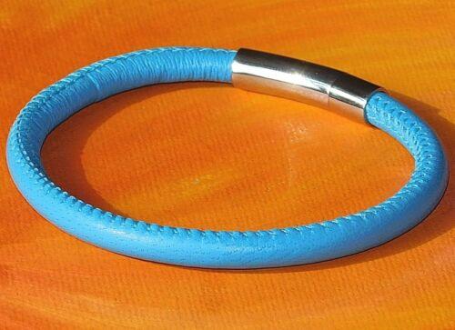Señoras//para hombre de cuero napa color azul 5mm /& Pulsera De Acero Inoxidable por Lyme Bahía Arte.
